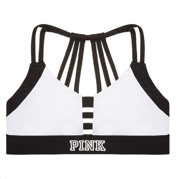 VS PINK White & Black Strappy Ultimate Sports Bra